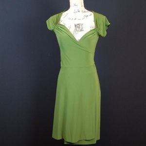 Norma Kamali olive green wrap dress V neck B440